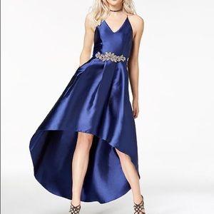 Dark Blue High Low Dress w/ Silver Brooch Belt
